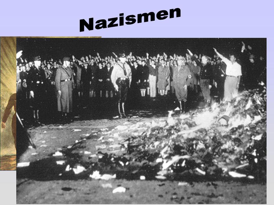 En fascistisk och rasistisk ideologi. Den starkes rätt. Antidemokratiskt. Rasläran: Historien är en kamp mellan olika raser. De starka segrar och de s