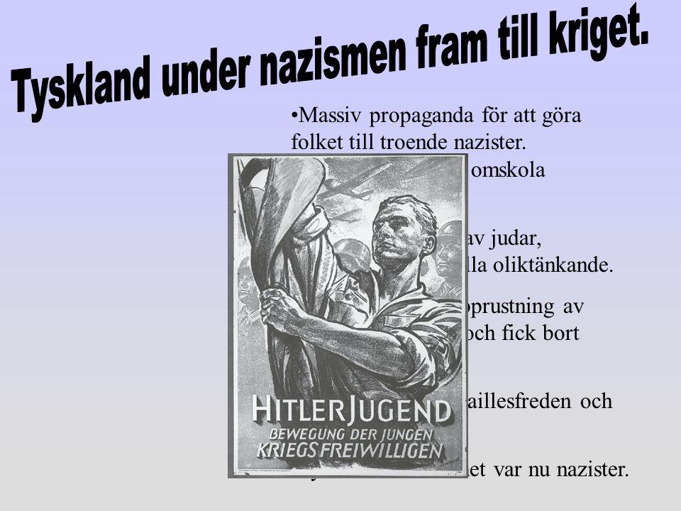 Massiv propaganda för att göra folket till troende nazister. Hitlerjugend skulle omskola ungdomarna Öppen förföljelse av judar, kommunister och alla o