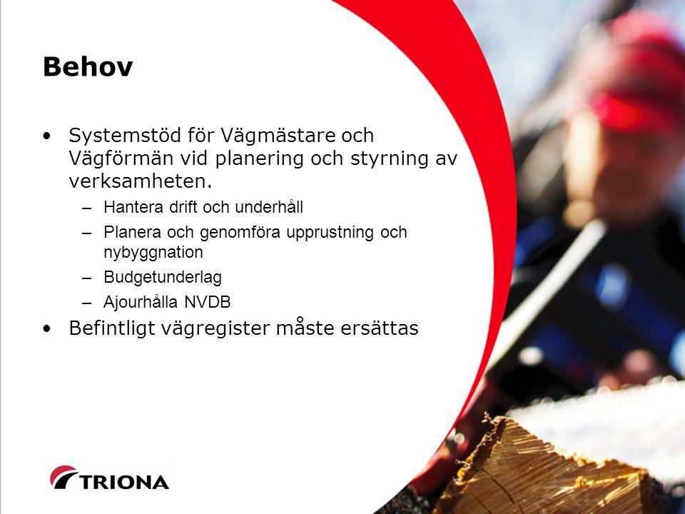 Behov Systemstöd för Vägmästare och Vägförmän vid planering och styrning av verksamheten.