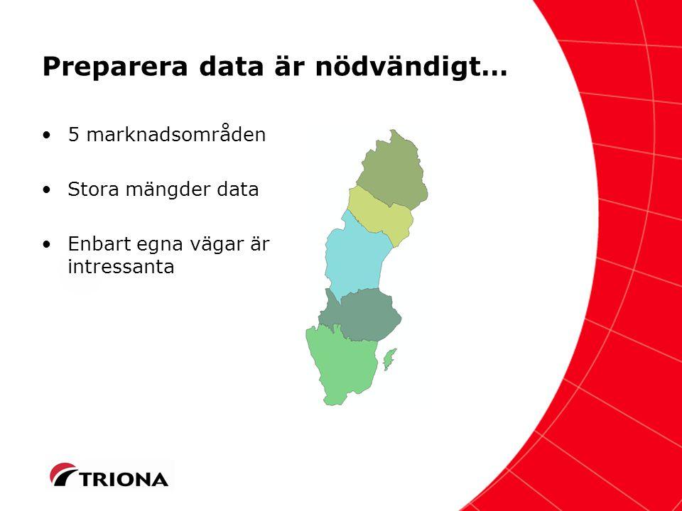 Två dataset att arbeta med per marknadsområde… Sveaskogs innehav –För statistik och nyckeltal Km väg / ha prod skogsmark Status på vägnätet Andel vägföreningar etc.