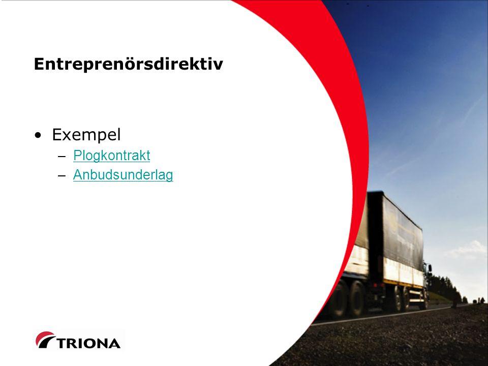 Entreprenörsdirektiv Exempel –PlogkontraktPlogkontrakt –AnbudsunderlagAnbudsunderlag