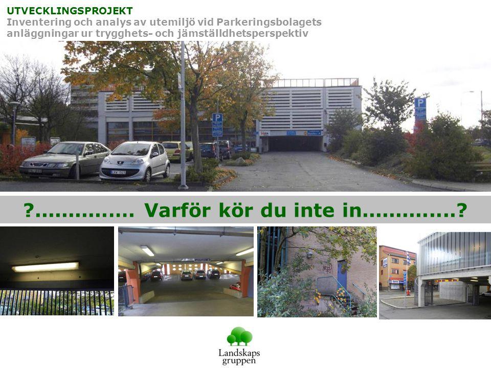UTVECKLINGSPROJEKT Inventering och analys av utemiljö vid Parkeringsbolagets anläggningar ur trygghets- och jämställdhetsperspektiv ...........….