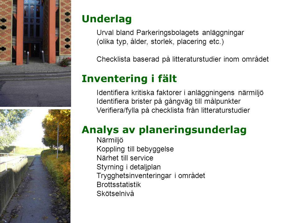 Underlag Urval bland Parkeringsbolagets anläggningar (olika typ, ålder, storlek, placering etc.) Checklista baserad på litteraturstudier inom området