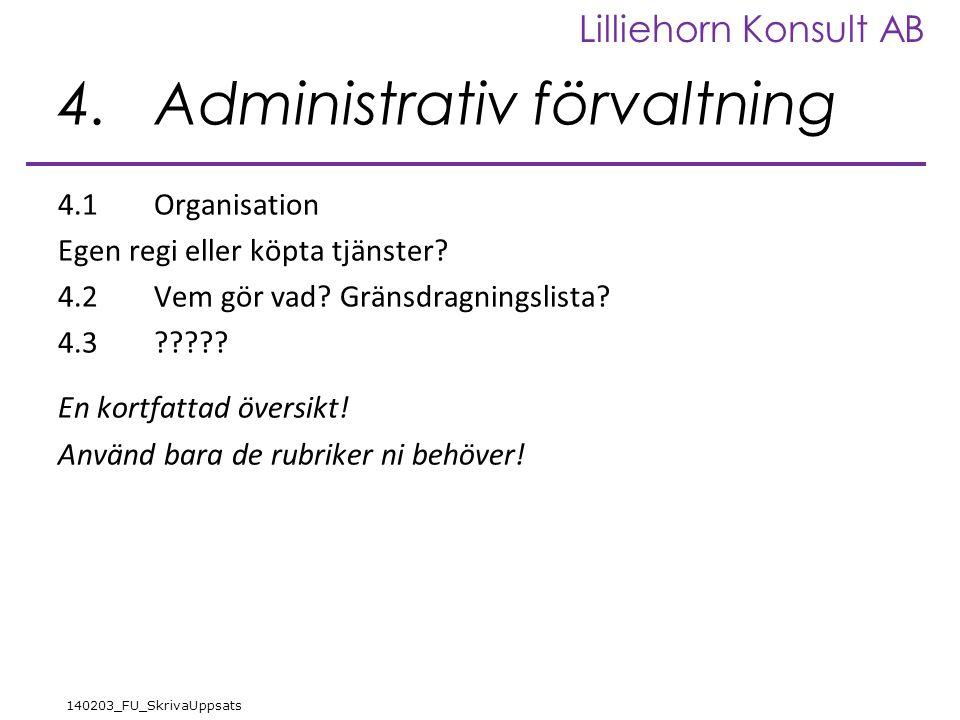 Lilliehorn Konsult AB 140203_FU_SkrivaUppsats 4.Administrativ förvaltning 4.1Organisation Egen regi eller köpta tjänster? 4.2Vem gör vad? Gränsdragnin