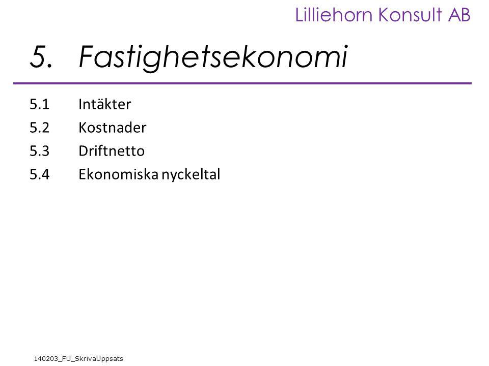 Lilliehorn Konsult AB 140203_FU_SkrivaUppsats 5.Fastighetsekonomi 5.1Intäkter 5.2Kostnader 5.3Driftnetto 5.4Ekonomiska nyckeltal