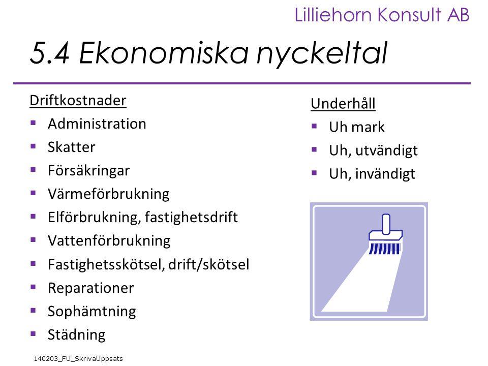 Lilliehorn Konsult AB 140203_FU_SkrivaUppsats 5.4 Ekonomiska nyckeltal Driftkostnader  Administration  Skatter  Försäkringar  Värmeförbrukning  E