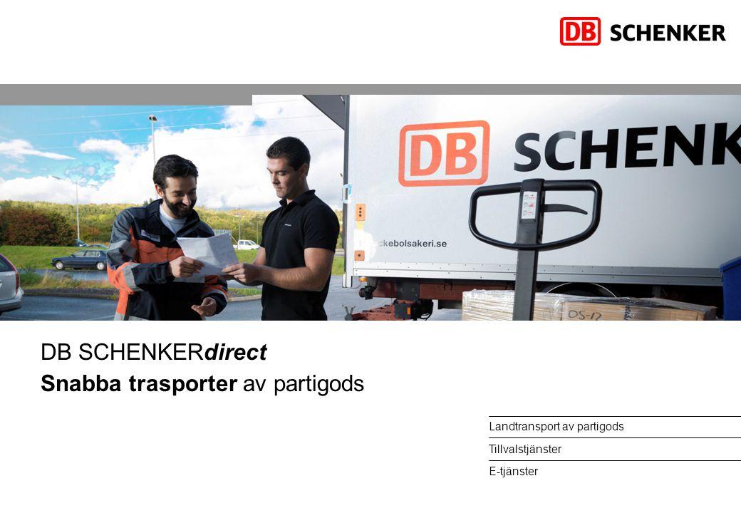 Landtransport av partigods Tillvalstjänster E-tjänster DB SCHENKERdirect Snabba trasporter av partigods