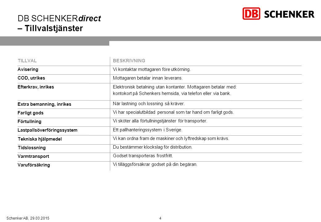 4Schenker AB, 29.03.2015 DB SCHENKERdirect – Tillvalstjänster TILLVAL Avisering COD, utrikes Efterkrav, inrikes Extra bemanning, inrikes Farligt gods