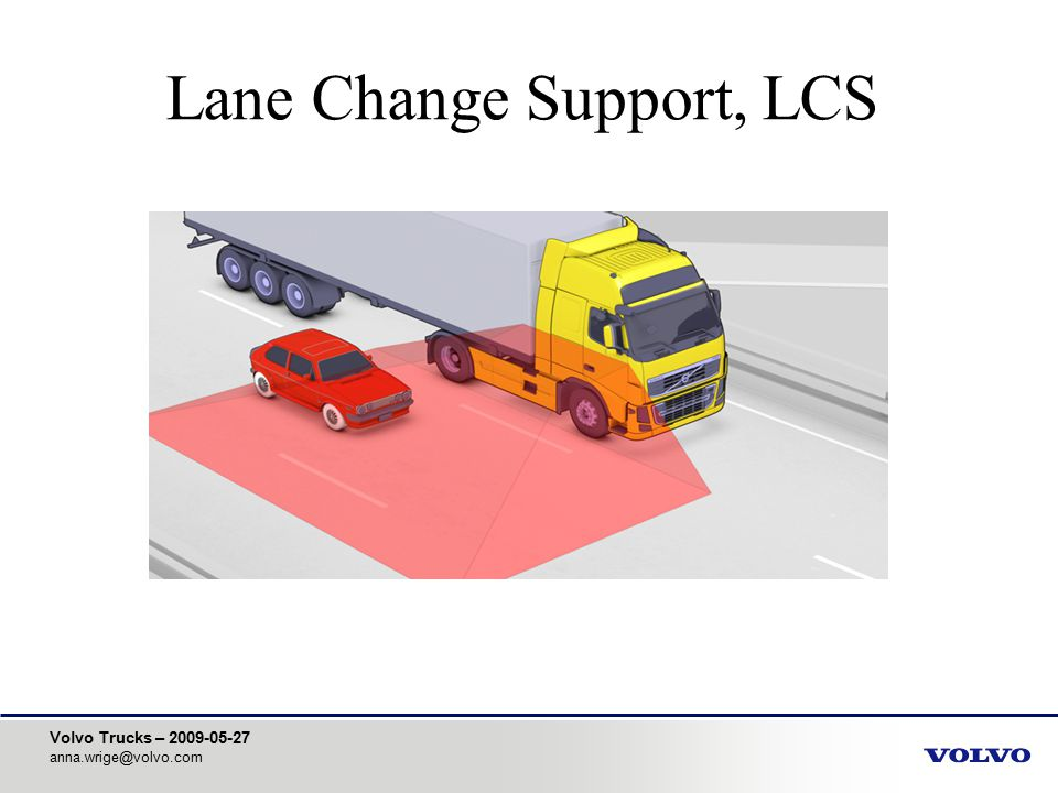 Volvo Trucks – 2009-05-27 anna.wrige@volvo.com Lane Change Support, LCS