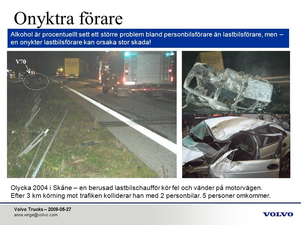 Volvo Trucks – 2009-05-27 anna.wrige@volvo.com Onyktra förare Alkohol är procentuellt sett ett större problem bland personbilsförare än lastbilsförare