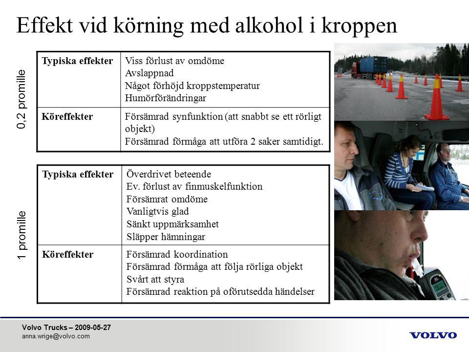 Volvo Trucks – 2009-05-27 anna.wrige@volvo.com Effekt vid körning med alkohol i kroppen Typiska effekterViss förlust av omdöme Avslappnad Något förhöj