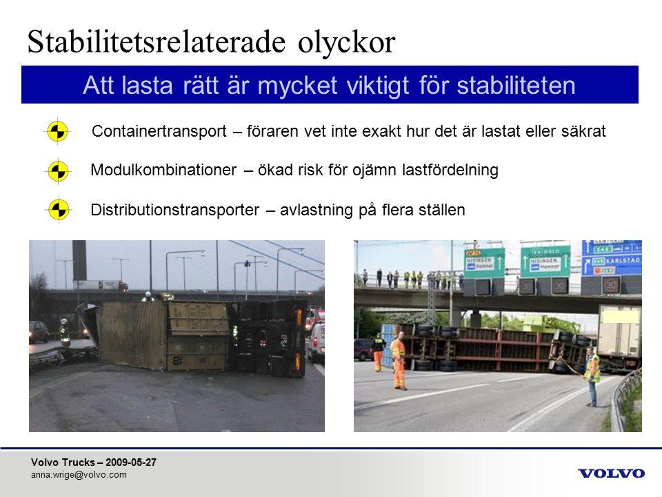 Volvo Trucks – 2009-05-27 anna.wrige@volvo.com Att lasta rätt är mycket viktigt för stabiliteten Modulkombinationer – ökad risk för ojämn lastfördelni