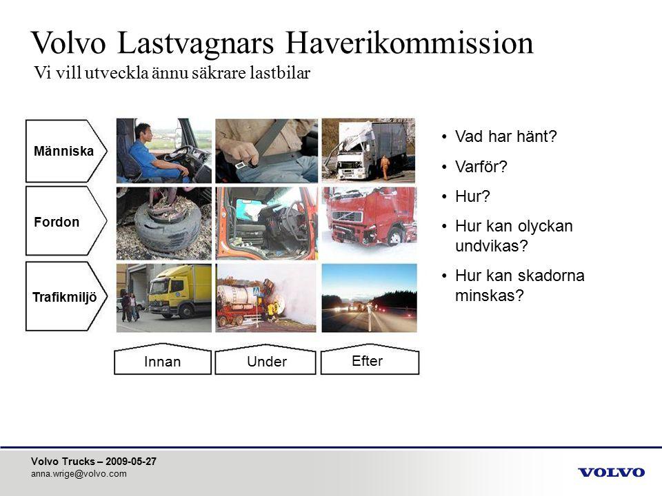 Volvo Trucks – 2009-05-27 anna.wrige@volvo.com utskjutande barriär, hastighet 30 km/h (motsvarar ca 50 km/h i verkligheten) Kollision med en annan lastbil Den nästvanligaste olyckstypen där lastbilsåkande skadas hyttstyrka hyttinfästningar skadenivåer evakuering Volvos barriärprov - stel barriär formad som bakänden på en trailer