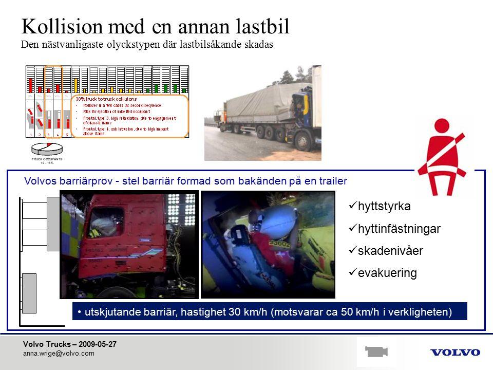 Volvo Trucks – 2009-05-27 anna.wrige@volvo.com utskjutande barriär, hastighet 30 km/h (motsvarar ca 50 km/h i verkligheten) Kollision med en annan las