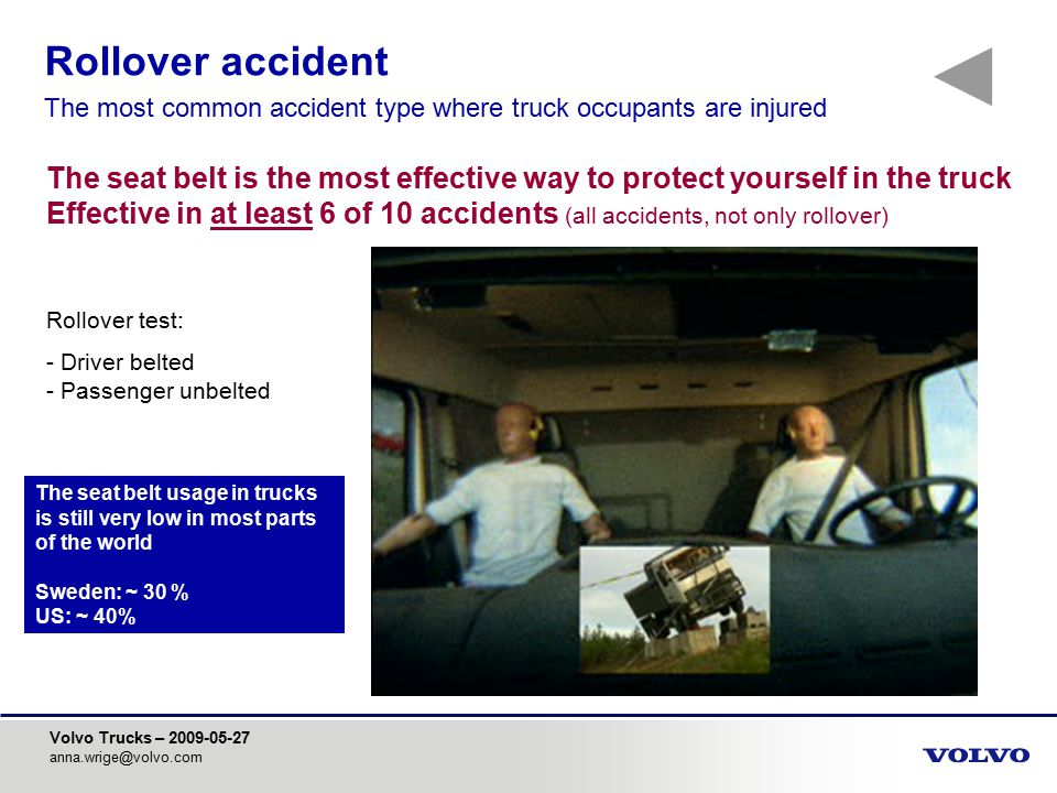 Volvo Trucks – 2009-05-27 anna.wrige@volvo.com Rollover test: - Driver belted - Passenger unbelted The seat belt is the most effective way to protect