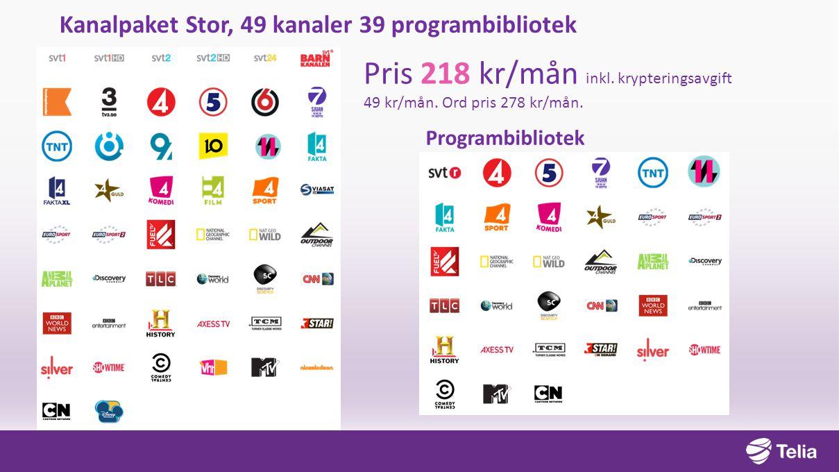 Kanalpaket Stor, 49 kanaler 39 programbibliotek Pris 218 kr/mån inkl.