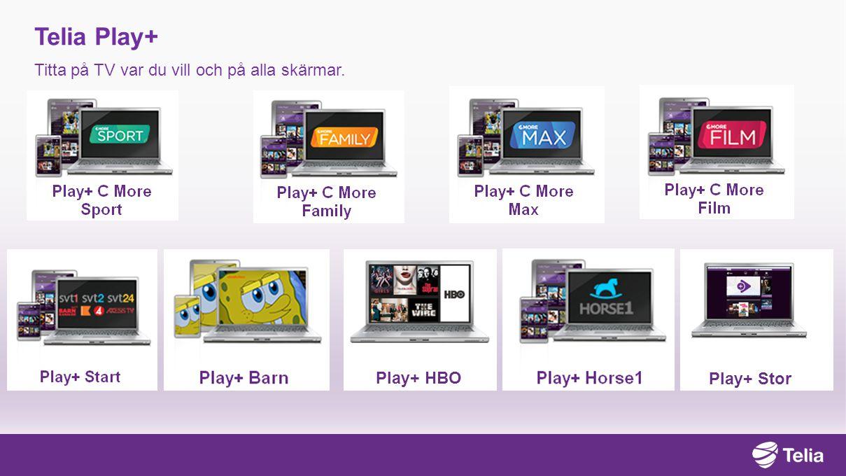 Telia Play+ Titta på TV var du vill och på alla skärmar. Play+ Stor Play+ HBO