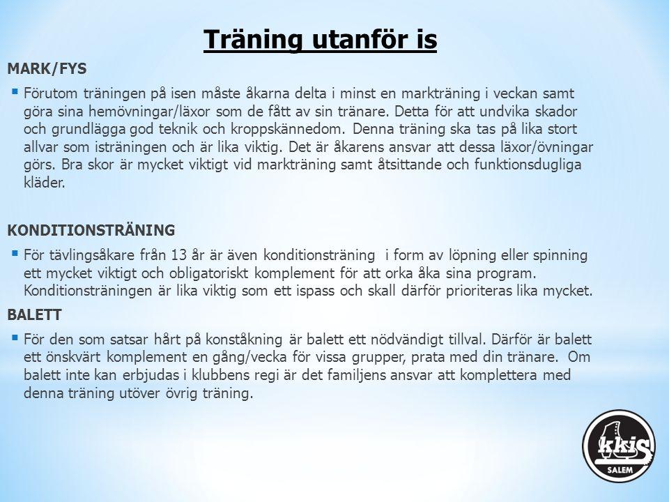 MARK/FYS  Förutom träningen på isen måste åkarna delta i minst en markträning i veckan samt göra sina hemövningar/läxor som de fått av sin tränare. D