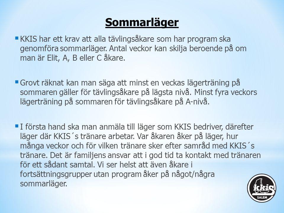  KKIS har ett krav att alla tävlingsåkare som har program ska genomföra sommarläger. Antal veckor kan skilja beroende på om man är Elit, A, B eller C