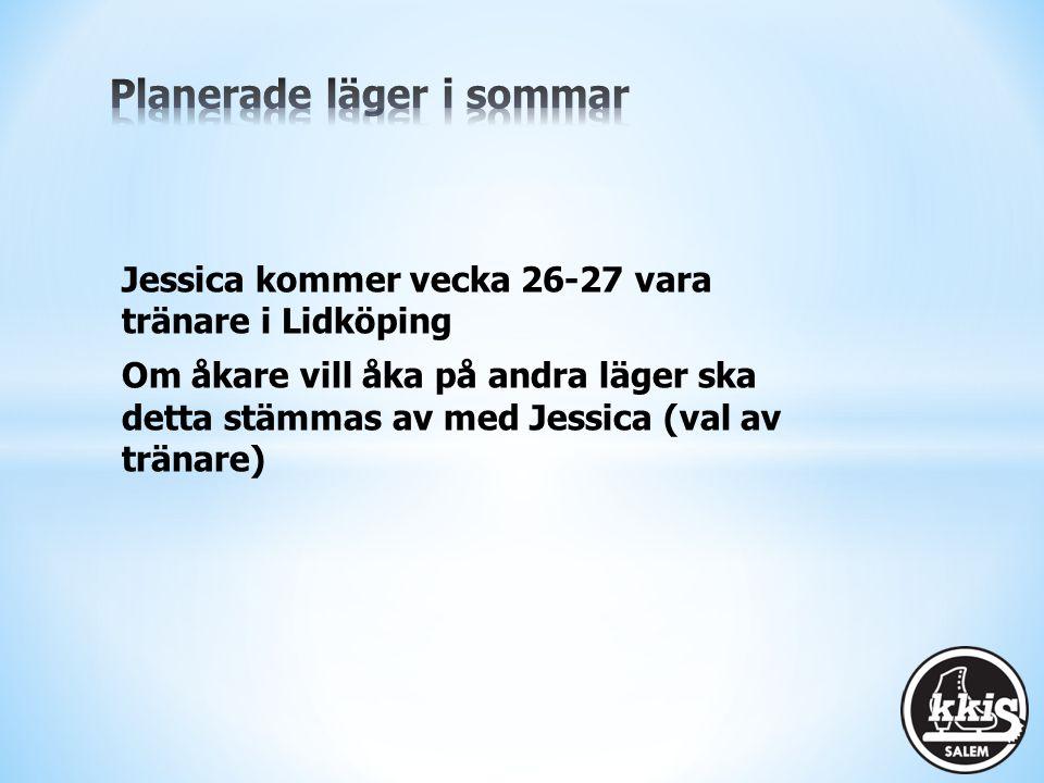 Jessica kommer vecka 26-27 vara tränare i Lidköping Om åkare vill åka på andra läger ska detta stämmas av med Jessica (val av tränare)
