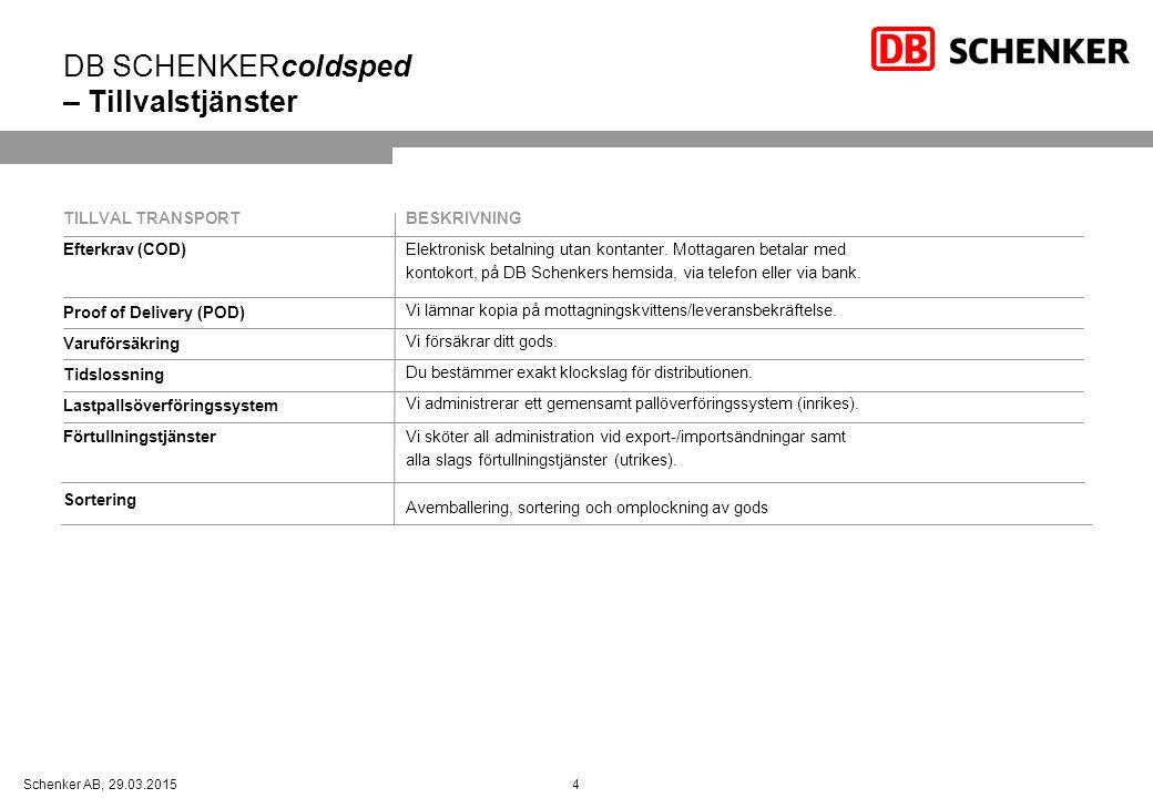 4Schenker AB, 29.03.2015 DB SCHENKERcoldsped – Tillvalstjänster TILLVAL TRANSPORT Efterkrav (COD) Proof of Delivery (POD) Varuförsäkring Tidslossning Lastpallsöverföringssystem Förtullningstjänster Sortering BESKRIVNING Elektronisk betalning utan kontanter.