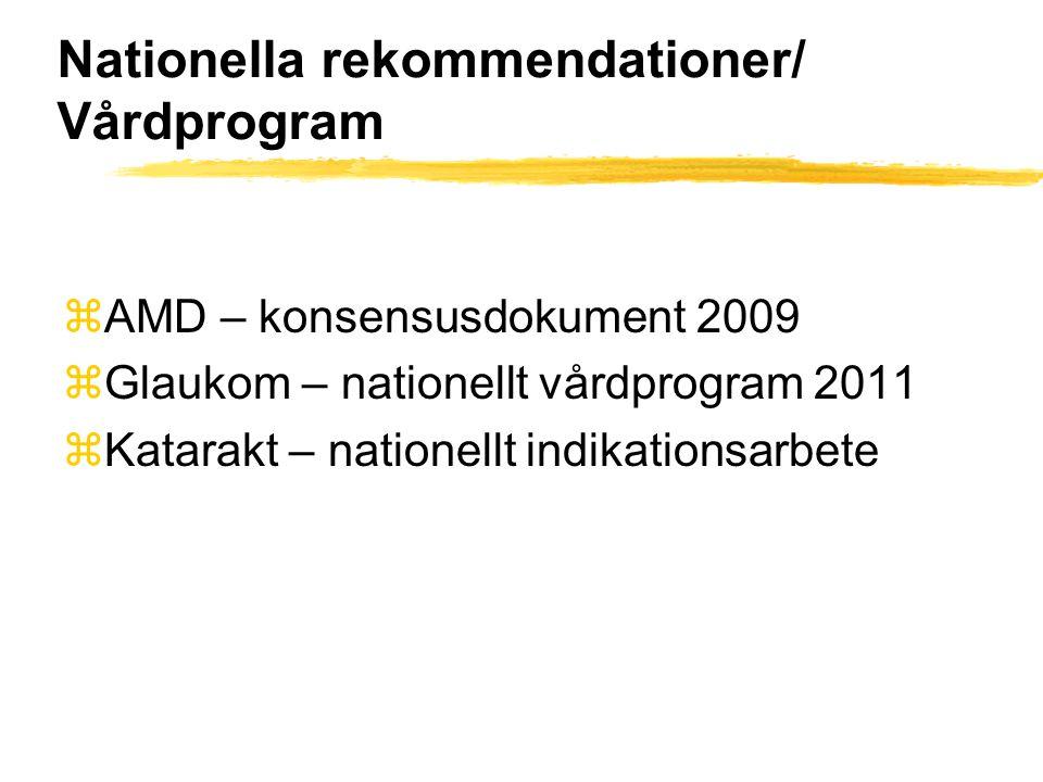 Nationella rekommendationer/ Vårdprogram zAMD – konsensusdokument 2009 zGlaukom – nationellt vårdprogram 2011 zKatarakt – nationellt indikationsarbete