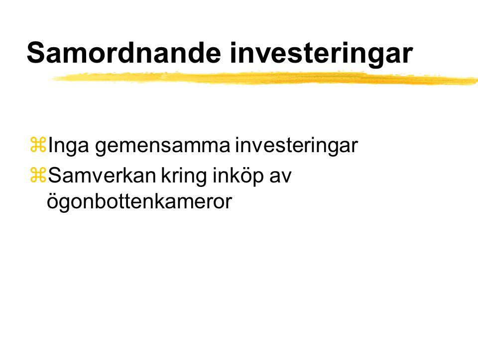 Samordnande investeringar zInga gemensamma investeringar zSamverkan kring inköp av ögonbottenkameror