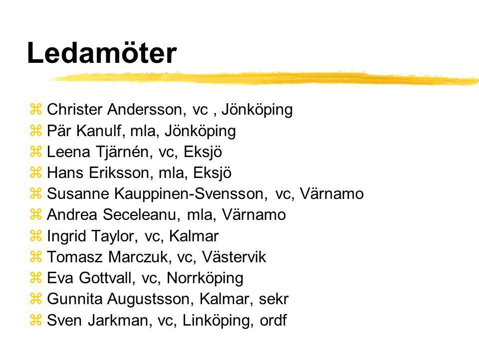 Ledamöter zChrister Andersson, vc, Jönköping zPär Kanulf, mla, Jönköping zLeena Tjärnén, vc, Eksjö zHans Eriksson, mla, Eksjö zSusanne Kauppinen-Svensson, vc, Värnamo zAndrea Seceleanu, mla, Värnamo zIngrid Taylor, vc, Kalmar zTomasz Marczuk, vc, Västervik zEva Gottvall, vc, Norrköping zGunnita Augustsson, Kalmar, sekr zSven Jarkman, vc, Linköping, ordf