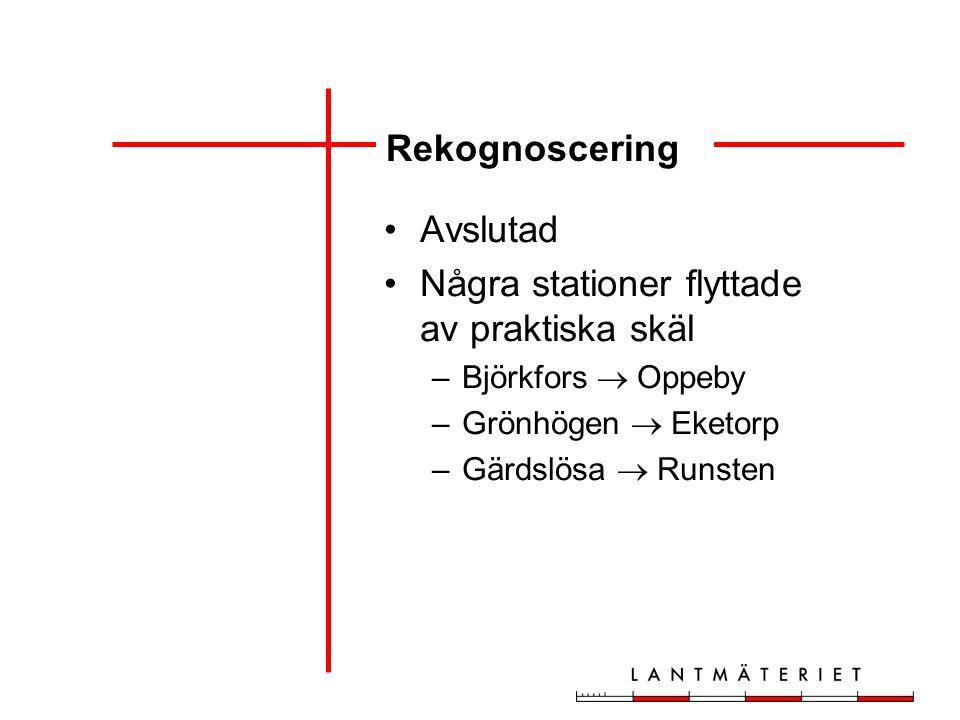 Rekognoscering Avslutad Några stationer flyttade av praktiska skäl –Björkfors  Oppeby –Grönhögen  Eketorp –Gärdslösa  Runsten
