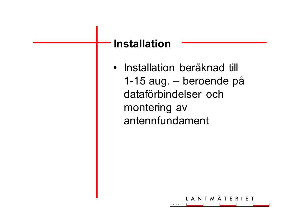 Installation Installation beräknad till 1-15 aug.