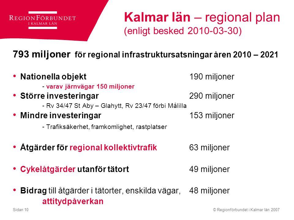 © Regionförbundet i Kalmar län 2007Sidan 10 Kalmar län – regional plan (enligt besked 2010-03-30) 793 miljoner för regional infrastruktursatsningar år