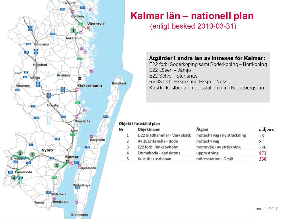 © Regionförbundet i Kalmar län 2007Sidan 11 miljoner 78 84 230 971 338 Åtgärder i andra län av intresse för Kalmar: E22 förbi Söderköping samt Söderkö