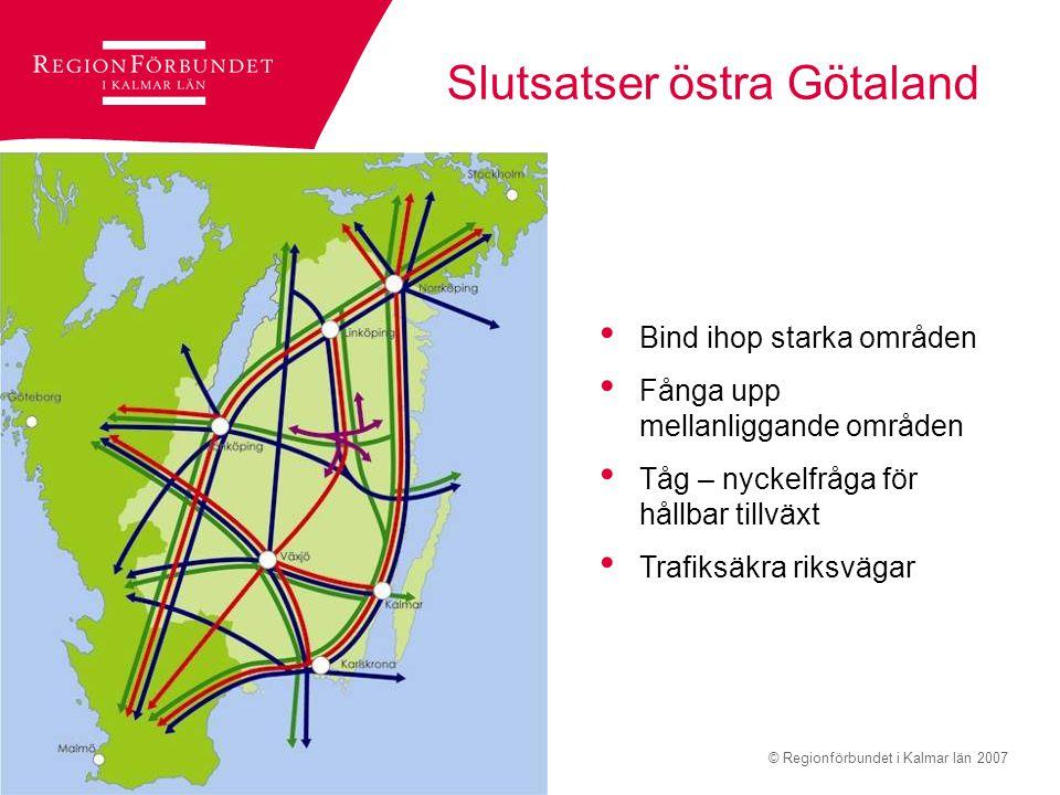 © Regionförbundet i Kalmar län 2007Sidan 6 Slutsatser östra Götaland Bind ihop starka områden Fånga upp mellanliggande områden Tåg – nyckelfråga för h