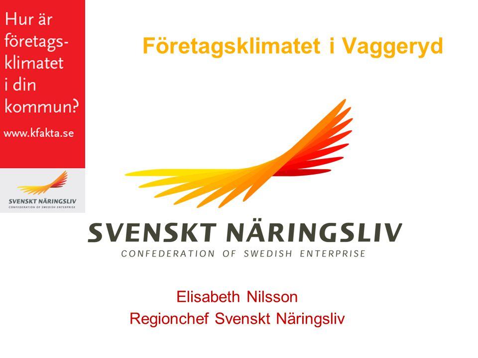 Företagsklimatet i Vaggeryd Elisabeth Nilsson Regionchef Svenskt Näringsliv