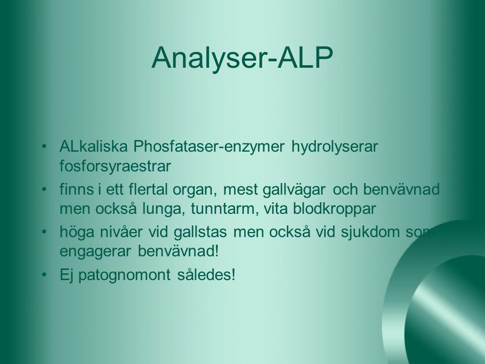 Analyser-ALP ALkaliska Phosfataser-enzymer hydrolyserar fosforsyraestrar finns i ett flertal organ, mest gallvägar och benvävnad men också lunga, tunn