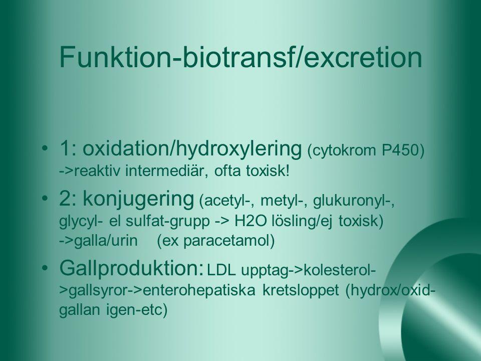 Funktion-biotransf/excretion 1: oxidation/hydroxylering (cytokrom P450) ->reaktiv intermediär, ofta toxisk! 2: konjugering (acetyl-, metyl-, glukurony
