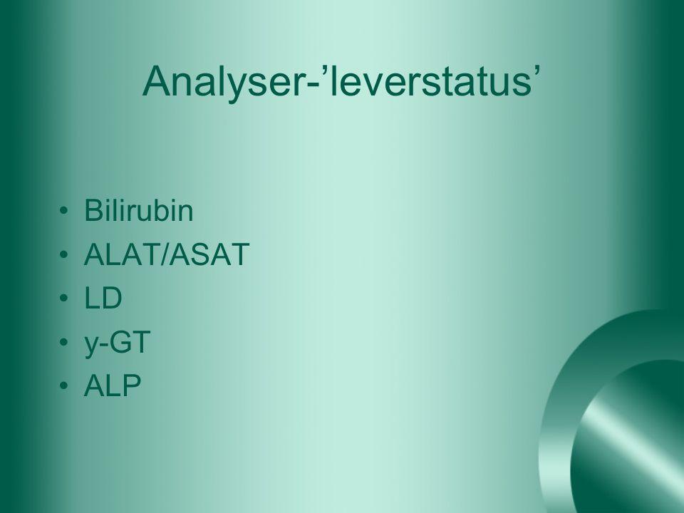 Analyser-'leverstatus' Bilirubin ALAT/ASAT LD y-GT ALP