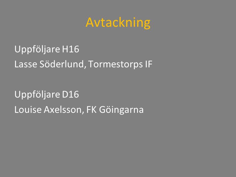 Avtackning Uppföljare H16 Lasse Söderlund, Tormestorps IF Uppföljare D16 Louise Axelsson, FK Göingarna