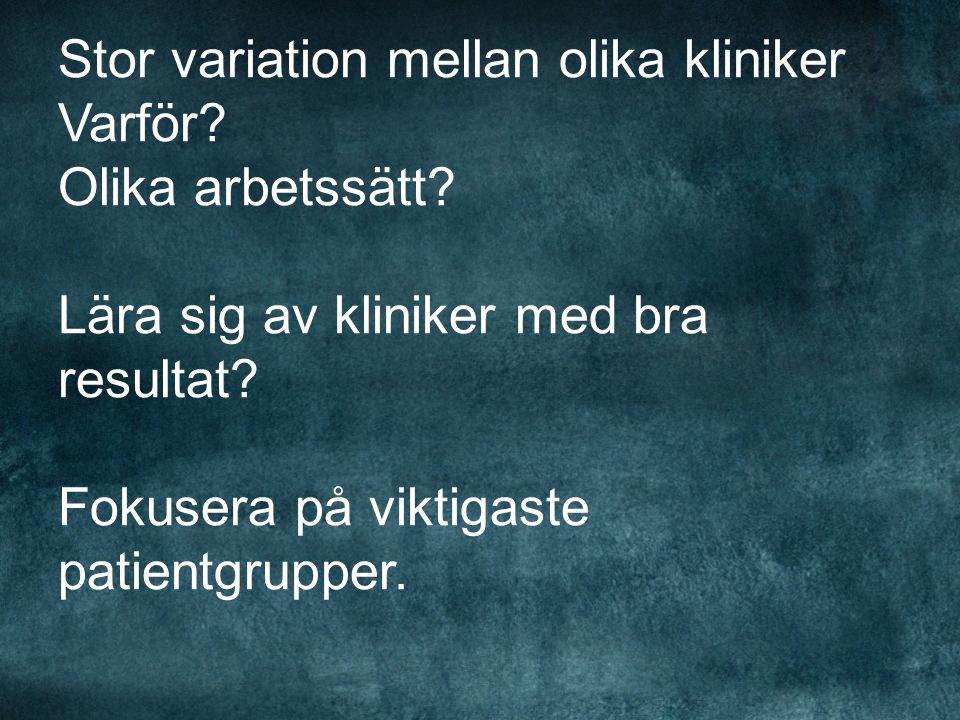 Stor variation mellan olika kliniker Varför. Olika arbetssätt.