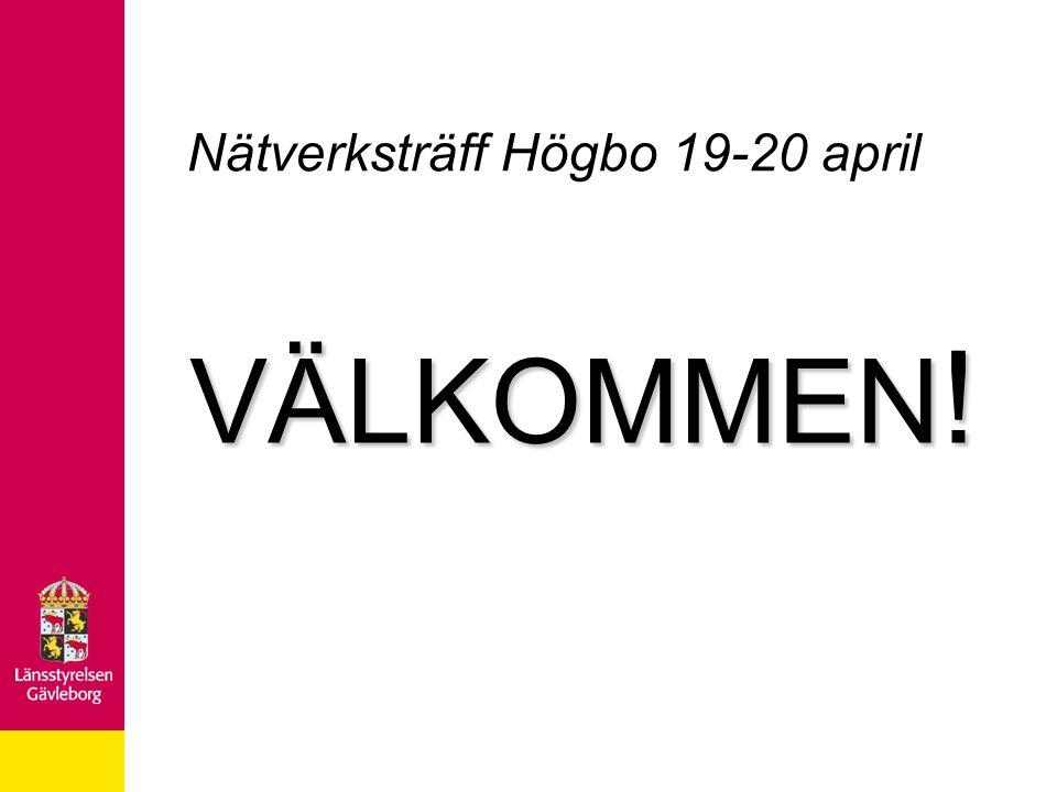 Nätverksträff Högbo 19-20 april VÄLKOMMEN !