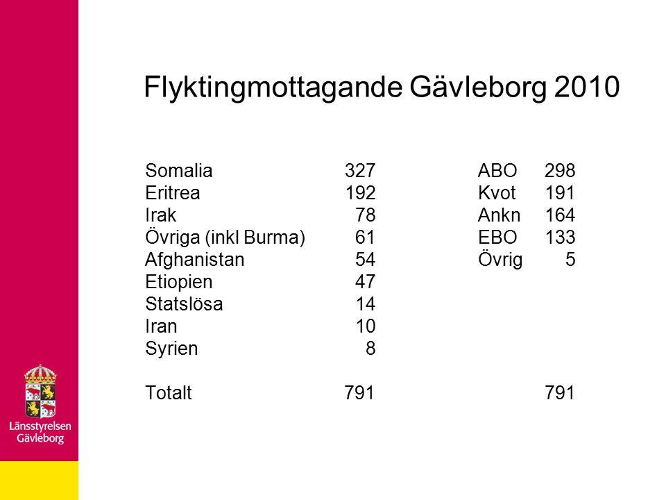 Flyktingmottagande Gävleborg 2010 Somalia 327ABO298 Eritrea192Kvot191 Irak 78Ankn164 Övriga (inkl Burma) 61 EBO 133 Afghanistan 54Övrig 5 Etiopien 47 Statslösa 14 Iran 10 Syrien 8 Totalt 791791