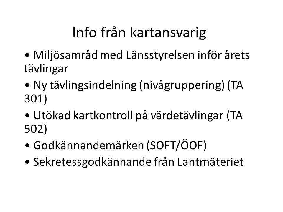 Info från kartansvarig Miljösamråd med Länsstyrelsen inför årets tävlingar Ny tävlingsindelning (nivågruppering) (TA 301) Utökad kartkontroll på värde