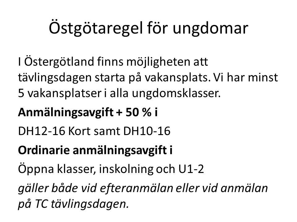 Östgötaregel för ungdomar I Östergötland finns möjligheten att tävlingsdagen starta på vakansplats. Vi har minst 5 vakansplatser i alla ungdomsklasser