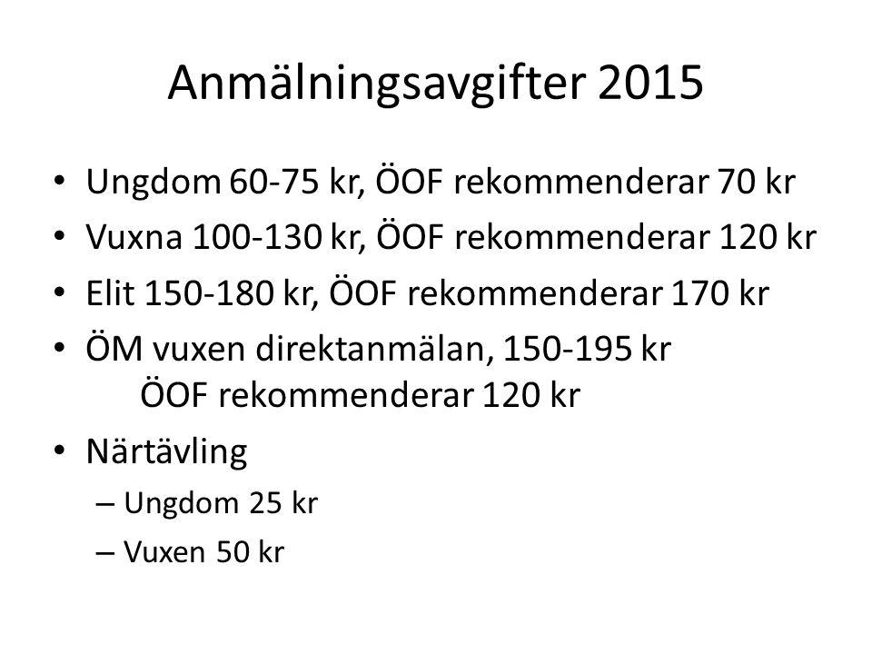 Anmälningsavgifter 2015 Ungdom 60-75 kr, ÖOF rekommenderar 70 kr Vuxna 100-130 kr, ÖOF rekommenderar 120 kr Elit 150-180 kr, ÖOF rekommenderar 170 kr