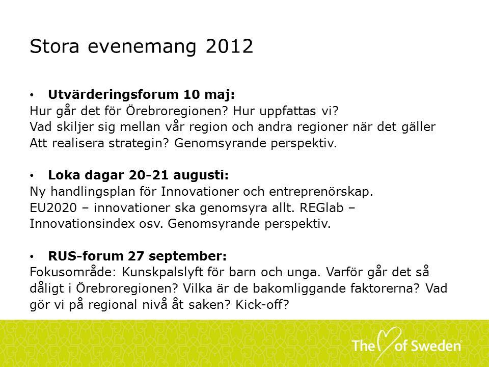 Stora evenemang 2012 Utvärderingsforum 10 maj: Hur går det för Örebroregionen.