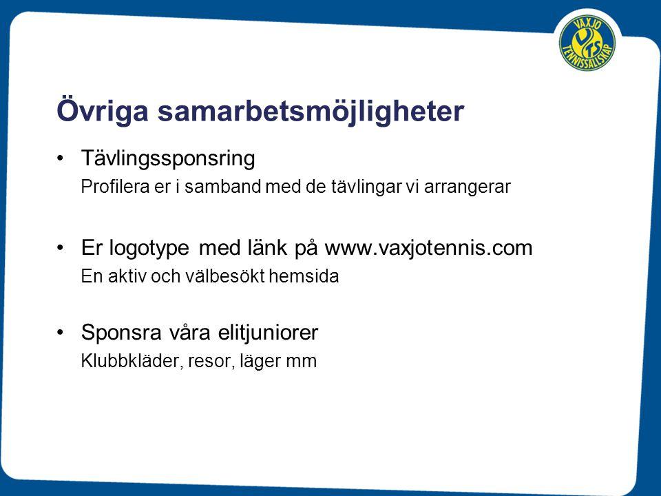 Övriga samarbetsmöjligheter Tävlingssponsring Profilera er i samband med de tävlingar vi arrangerar Er logotype med länk på www.vaxjotennis.com En akt
