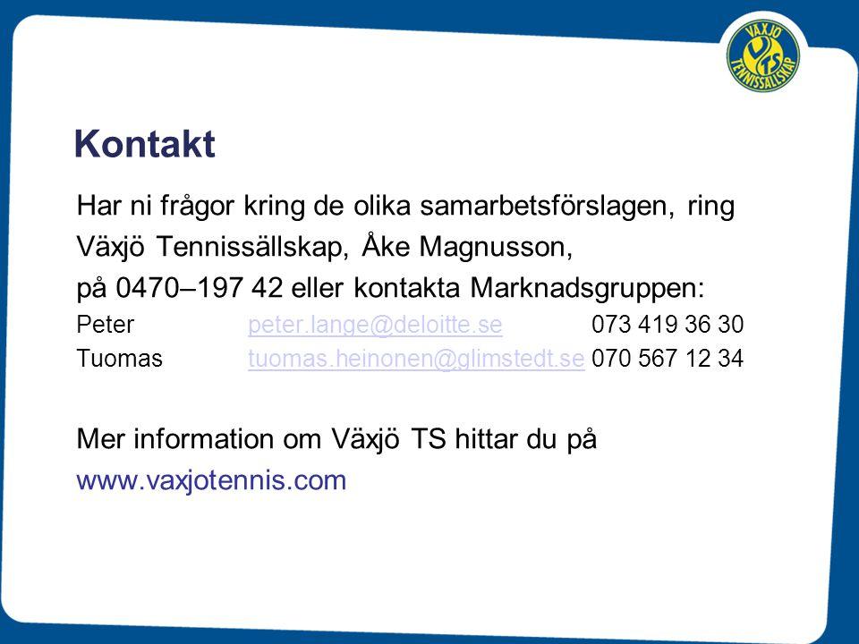 Kontakt Har ni frågor kring de olika samarbetsförslagen, ring Växjö Tennissällskap, Åke Magnusson, på 0470–197 42 eller kontakta Marknadsgruppen: Pete