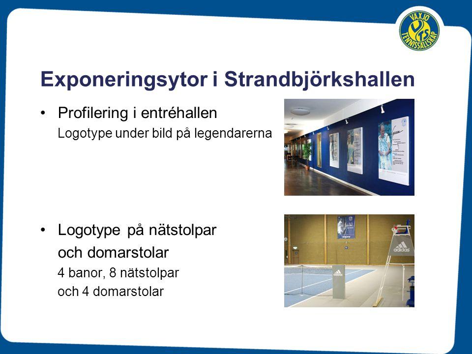 Exponeringsytor i Strandbjörkshallen Profilering i entréhallen Logotype under bild på legendarerna Logotype på nätstolpar och domarstolar 4 banor, 8 n