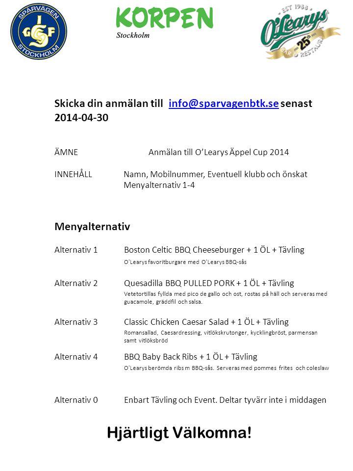 Skicka din anmälan till info@sparvagenbtk.se senast 2014-04-30info@sparvagenbtk.se ÄMNEAnmälan till O'Learys Äppel Cup 2014 INNEHÅLLNamn, Mobilnummer, Eventuell klubb och önskat Menyalternativ 1-4 Menyalternativ Alternativ 1Boston Celtic BBQ Cheeseburger + 1 ÖL + Tävling O Learys favoritburgare med O Learys BBQ-sås Alternativ 2Quesadilla BBQ PULLED PORK + 1 ÖL + Tävling Vetetortillas fyllda med pico de gallo och ost, rostas på häll och serveras med guacamole, gräddfil och salsa.