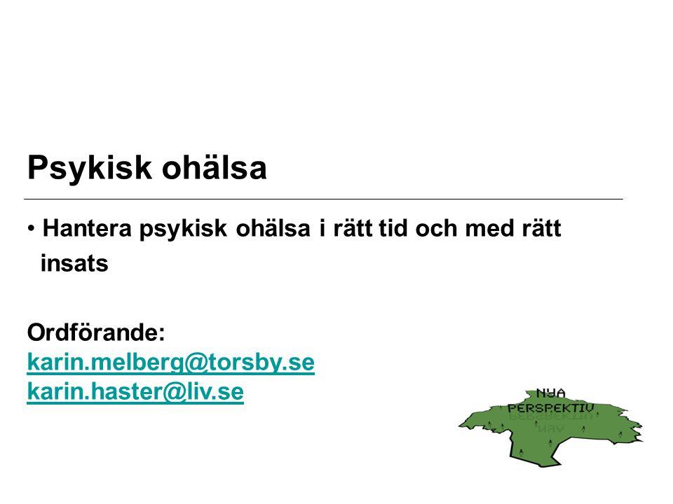 Psykisk ohälsa Hantera psykisk ohälsa i rätt tid och med rätt insats Ordförande: karin.melberg@torsby.se karin.haster@liv.se karin.melberg@torsby.se karin.haster@liv.se